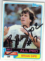 BRIAN SIPE CLEVELAND BROWNS AUTOGRAPHED VINTAGE FOOTBALL CARD #91513E