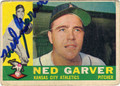 NED GARVER KANSAS CITY ATHLETICS AUTOGRAPHED VINTAGE BASEBALL CARD #92113i