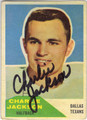 CHARLIE JACKSON DALLAS TEXANS AUTOGRAPHED VINTAGE FOOTBALL CARD #92113J
