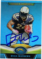 RYAN MATHEWS AUTOGRAPHED FOOTBALL CARD #92212J