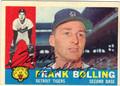 FRANK BOLLING DETROIT TIGERS AUTOGRAPHED VINTAGE BASEBALL CARD #92313H