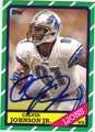 CALVIN JOHNSON DETROIT LIONS AUTOGRAPHED FOOTBALL CARD #92713E