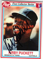 KIRBY PUCKETT MINNESOTA TWINS AUTOGRAPHED BASEBALL CARD #92813H