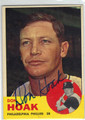 DON HOAK PHILADELPHIA PHILLIES AUTOGRAPHED VINTAGE BASEBALL CARD #93013H
