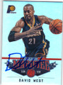 DAVID WEST INDIANA PACERS AUTOGRAPHED BASKETBALL CARD #11314G