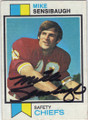 MIKE SENSIBAUGH KANSAS CITY CHIEFS AUTOGRAPHED VINTAGE FOOTBALL CARD #12014E