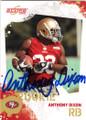 ANTHONY DIXON SAN FRANCISCO 49ers AUTOGRAPHED ROOKIE FOOTBALL CARD #12214i