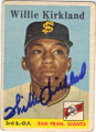WILLIE KIRKLAND SAN FRANCISCO GIANTS AUTOGRAPHED VINTAGE ROOKIE BASEBALL CARD #13014i