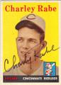 CHARLEY RABE CINCINNATI REDLEGS AUTOGRAPHED VINTAGE BASEBALL CARD #20414N