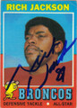 RICH JACKSON DENVER BRONCOS AUTOGRAPHED VINTAGE FOOTBALL CARD #20614i