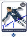 NORM ULLMAN TORONTO MAPLE LEAFS AUTOGRAPHED HOCKEY CARD #20714D
