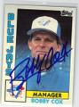 BOBBY COX TORONTO BLUE JAYS AUTOGRAPHED VINTAGE BASEBALL CARD #20814G