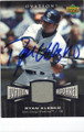RYAN KLESKO SAN DIEGO PADRES AUTOGRAPHED PIECE OF THE GAME BASEBALL CARD #21714H