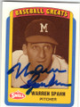 WARREN SPAHN MILWAUKEE BRAVES AUTOGRAPHED BASEBALL CARD #21714i