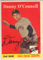 DANNY O'CONNELL SAN FRANCISCO GIANTS AUTOGRAPHED VINTAGE BASEBALL CARD #22114S