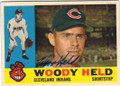 WOODY HELD CLEVELAND INDIANS AUTOGRAPHED VINTAGE BASEBALL CARD #22414B