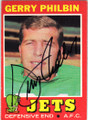 GERRY PHILBIN NEW YORK JETS AUTOGRAPHED VINTAGE FOOTBALL CARD #22414N