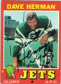 DAVE HERMAN NEW YORK JETS AUTOGRAPHED VINTAGE FOOTBALL CARD #30414G