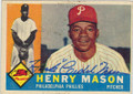 "HENRY ""HANK"" MASON PHILADELPHIA PHILLIES AUTOGRAPHED VINTAGE BASEBALL CARD #30514D"