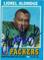 LIONEL ALDRIDGE GREENBAY PACKERS AUTOGRAPHED VINTAGE FOOTBALL CARD #30714H