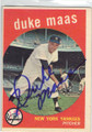 DUKE MAAS NEW YORK YANKEES AUTOGRAPHED VINTAGE BASEBALL CARD #31414F
