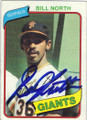 BILL NORTH SAN FRANCISCO GIANTS AUTOGRAPHED VINTAGE BASEBALL CARD #32214E
