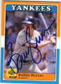 BOBBY MURCER NEW YORK YANKEES AUTOGRAPHED BASEBALL CARD #32414H