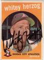 WHITEY HERZOG KANSAS CITY ATHLETICS AUTOGRAPHED VINTAGE BASEBALL CARD #32414N