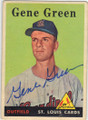 GENE GREEN ST LOUIS CARDINALS AUTOGRAPHED VINTAGE ROOKIE BASEBALL CARD #33014J