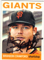 BRANDON CRAWFORD SAN FRANCISCO GIANTS AUTOGRAPHED BAEBALL CARD #33014S