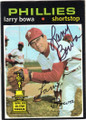 LARRY BOWA PHILADELPHIA PHILLIES AUTOGRAPHED VINTAGE ROOKIE BASEBALL CARD #40114i