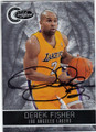 DEREK FISHER LOS ANGELES LAKERS AUTOGRAPHED & NUMBERED BASKETBALL CARD #41014N