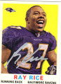 RAY RICE BALTIMORE RAVENS AUTOGRAPHED FOOTBALL CARD #41714i