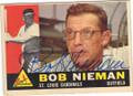 BOB NIEMAN ST LOUIS CARDINALS AUTOGRAPHED VINTAGE BASEBALL CARD #42314F