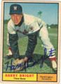 HARRY BRIGHT WASHINGTON SENATORS AUTOGRAPHED VINTAGE BASEBALL CARD #42314i