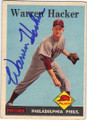 WARREN HACKER PHILADELPHIA PHILLIES AUTOGRAPHED VINTAGE BASEBALL CARD #42814F