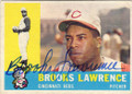 BROOKS LAWRENCE CINCINNATI REDS AUTOGRAPHED VINTAGE BASEBALL CARD #42814i