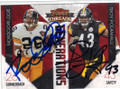 ROD WOODSON & TROY POLAMALU PITTSBURGH STEELERS DOUBLE AUTOGRAPHED FOOTBALL CARD #42914T