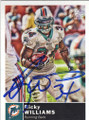 RICKY WILLIAMS MIAMI DOLPINS AUTOGRAPHED FOOTBALL CARD #50614O