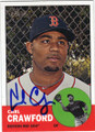 CARL CRAWFORD BOSTON RED SOX AUTOGRAPHED BASEBALL CARD #50814F