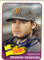 BRANDON CRAWFORD SAN FRANCISCO GIANTS AUTOGRAPHED BASEBALL CARD #51214E