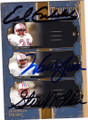 EARL CAMPBELL, WARREN MOON & STEVE McNAIR HOUSTON OILERS TRIPLE AUTOGRAPHED & NUMBERED FOOTBALL CARD #51414D
