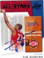 TIM DUNCAN SAN ANTONIO SPURS AUTOGRAPHED ALL-STAR BASKETBALL CARD #52714B