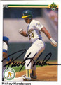 RICKEY HENDERSON OAKLAND ATHLETICS AUTOGRAPHED BASEBALL CARD #60214L