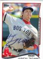 JUNICHI TAZAWA BOSTON RED SOX AUTOGRAPHED BASEBALL CARD #60414K