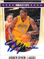 ANDREW BYNUM LOS ANGELES LAKERS AUTOGRAPHED BASKETBALL CARD #60714L