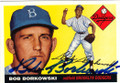 BOB BORKOWSKI BROOKLYN DODGERS AUTOGRAPHED BASEBALL CARD #60914B