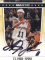 TJ FORD SAN ANTONIO SPURS AUTOGRAPHED BASKETBALL CARD #61714F