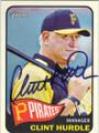 CLINT HURDLE PITTSBURGH PIRATES AUTOGRAPHED BASEBALL CARD #70114D