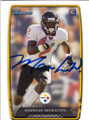 MARKUS WHEATON PITTSBURGH STEELERS AUTOGRAPHED ROOKIE FOOTBALL CARD #71814F
